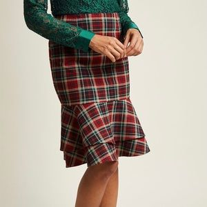 ModCloth Tiered Ruffle Pencil Skirt Red Plaid S